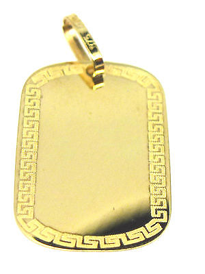 Yellow gold dog tag pendant with greek key design border 2791 9ct yellow gold dog tag pendant with greek key design border 2791 aloadofball Choice Image